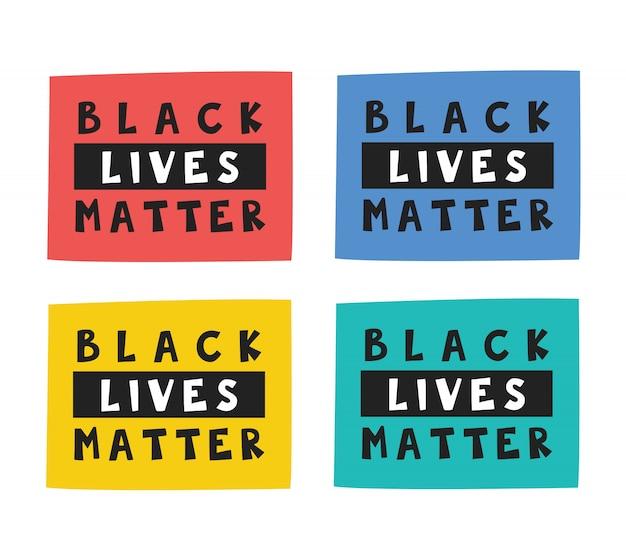 黒人の生活が重要です。さまざまな長方形のテキスト、レタリング、モト。アフロアメリカンカルチャー。人権。アクティブな社会的地位。フラットのイラスト、アイコン、ステッカー。白い背景で隔離