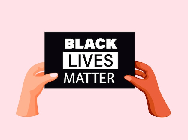 Black lives matter. two people hand holding sign board diversity unity symbol in cartoon illustration