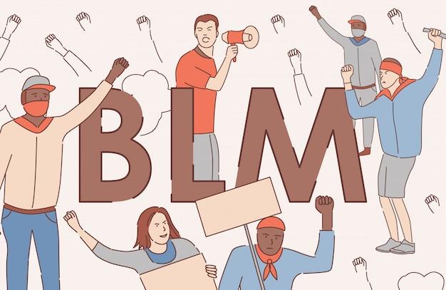 Black lives matter vector cartoon outline banner concept. tolerance, human rights of black people poster concept.