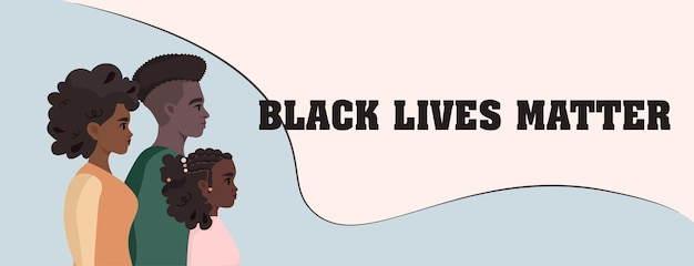 흑인의 생명은 중요합니다. 어두운 피부색의 인종 차별에 반대하는 벡터 일러스트레이션 캠페인
