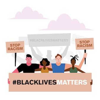黒人の生活は、抗議の正義と人種差別をテーマにした拳のデザインで重要です。