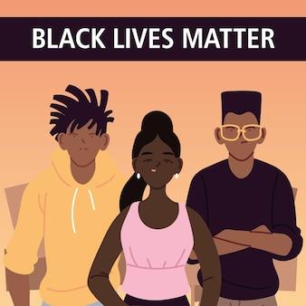 흑인의 삶은 항의 정의와 인종 차별주의 테마 일러스트의 소녀와 소년 만화와 함께 중요합니다.