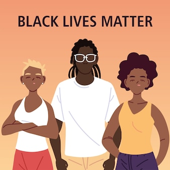 Black lives matter with girls and boy cartoons of protest justice and racism theme illustration