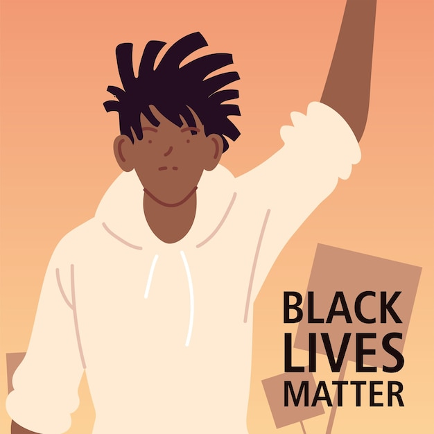 Black lives matter with man cartoon of protest justice and racism theme illustration