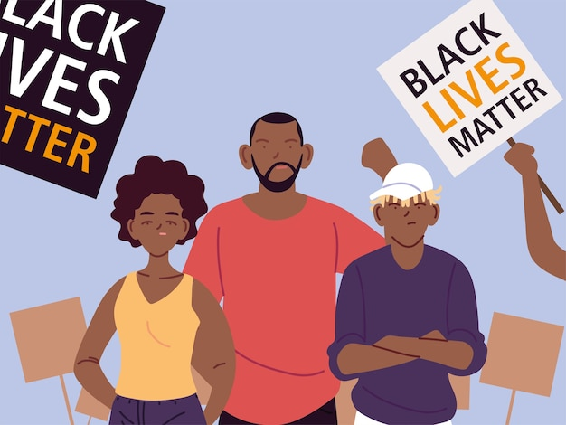 Black lives matter with mother father son cartoons and banners design of protest justice and racism theme illustration