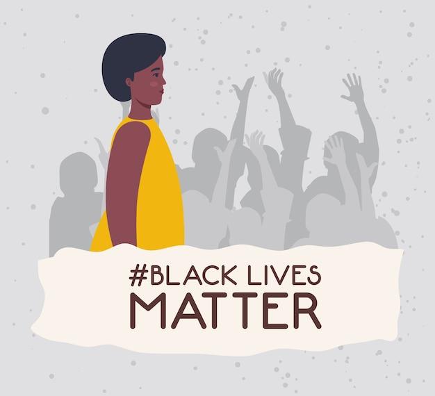 Черная жизнь имеет значение, африканская молодая женщина с силуэтом протестующих людей, остановите концепцию расизма.