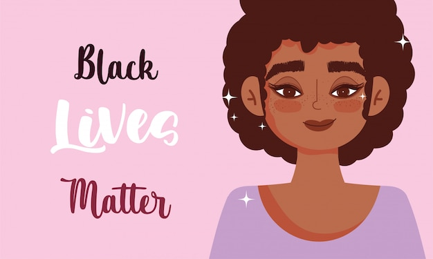Black lives matters, afro woman protest with the message vector illustration