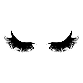 Black long lashes illustration.