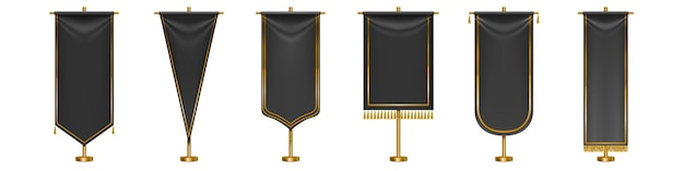 Black long pennant flags with golden tassel fringe and borders isolated. black textile pennons different shapes on gold pillars