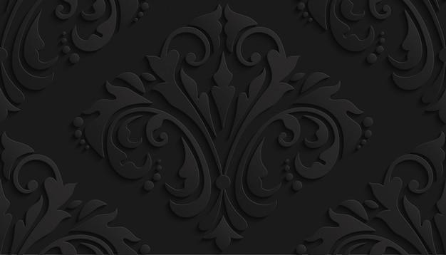 Black luxury 3d damask pattern for wallpaper