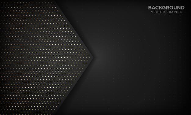 重複レイヤーと黒の豪華な抽象的な背景。金の質感は、ドット要素を輝かせます。