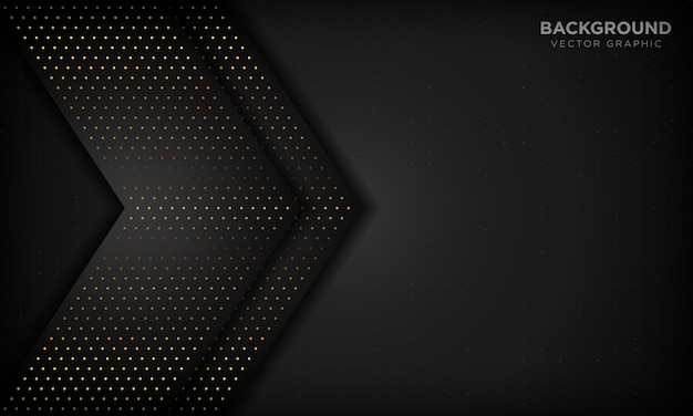 Black luxury abstract background with overlap layers. texture with gold glitters dot element.
