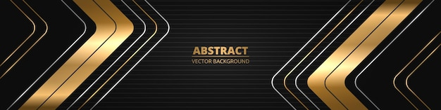 Black luxury abstract wide horizontal banner