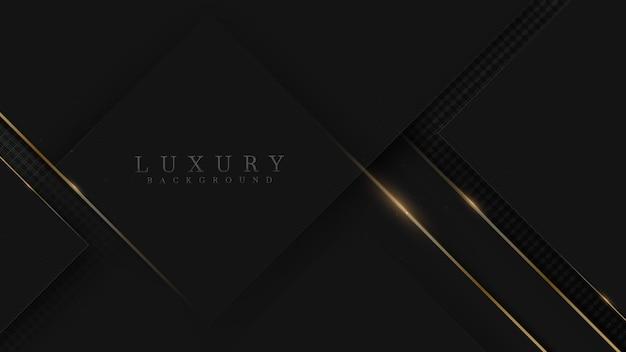 キラキラゴールドのライン、最小限のシーン、ショーケースの美容と化粧品の製品またはテキストを使用するための空きスペースを備えた黒の豪華な背景。 3dベクトルイラスト。