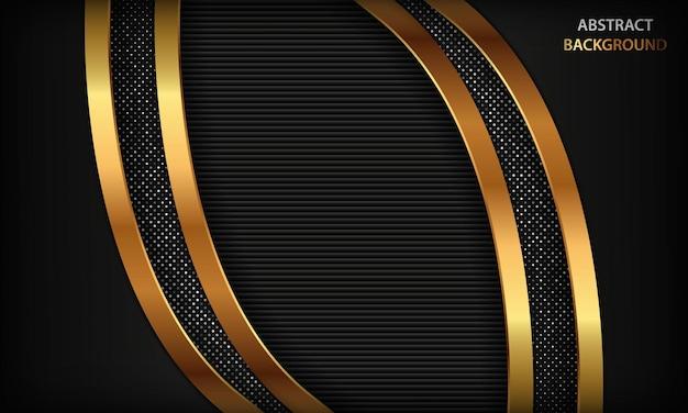 ゴールドラインと黒の豪華な次元の背景