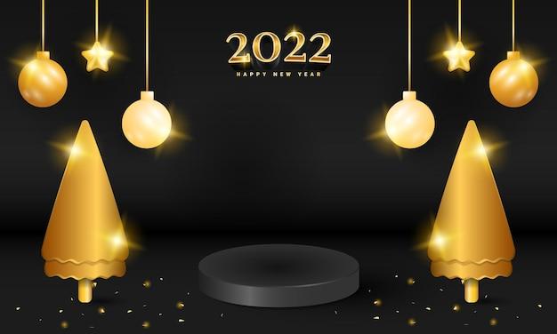 金色の光沢のある木とボールと黒の豪華な新年あけましておめでとうございます表彰台バナー