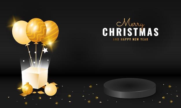 表彰台とギフトボックスの装飾が施された黒の豪華なメリークリスマスと新年あけましておめでとうございますのバナー