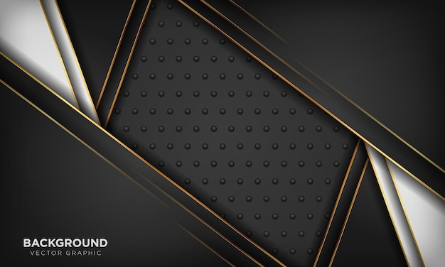 ゴールドのライン装飾の背景を持つ黒の豪華な紙のスタイル