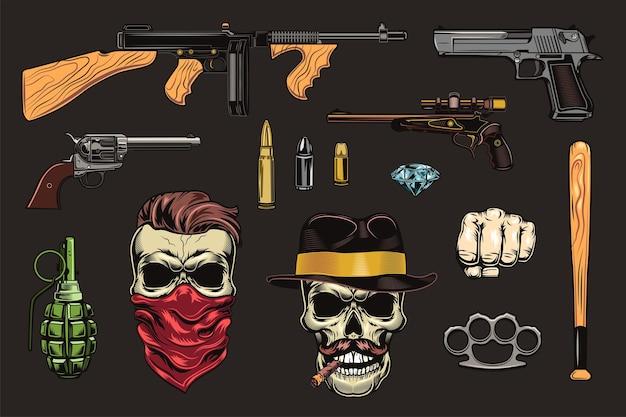 Black mafia and gangsters flat illustration set