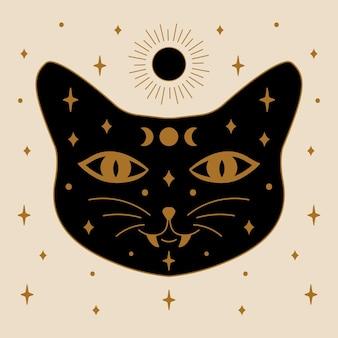 벡터의 검은 마술 고양이 일러스트 디자인