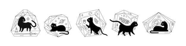 Black magic cats in crystals florariums, set of different poses, cute cat silhouette. black illustration isolated on white background