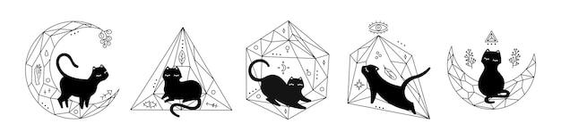 Черная магия кошек в флорариумах кристаллов, множество разных поз, милый силуэт кошки. черная иллюстрация, изолированные на белом фоне