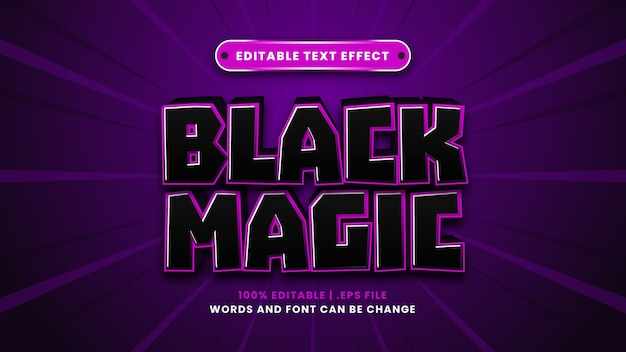 Black magic editable text effect in modern 3d style