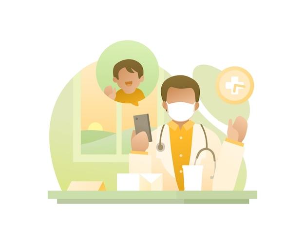 黒人男性医師はフェイスマスクを着用し、彼の子供とビデオ通話をしています