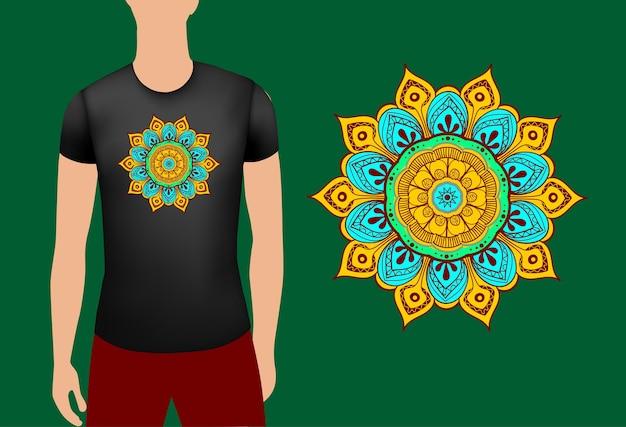 Black male realistic t shirt with mandala vector