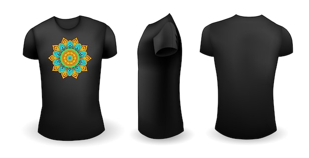 Black male t shirt with mandala front back and side view vector