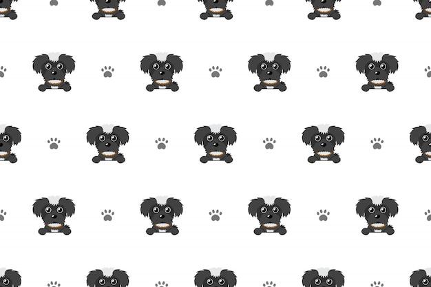 Black maltese dog seamless pattern background