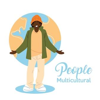 世界の球のデザインの前で黒人男性の漫画