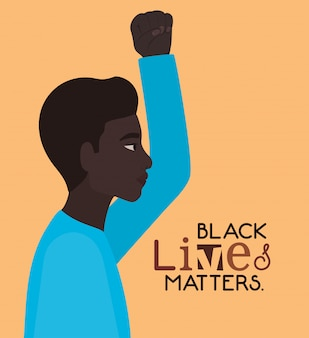 Black man cartoon with fist up in side view with black lives matters text design of protest justice and racism