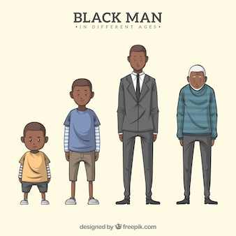Black man character in different ages