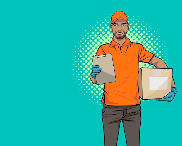 Служба доставки черного человека с большой коробкой и буфером обмена в стиле поп-арт в стиле комиксов