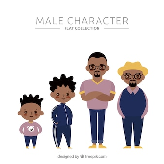 Black man in different ages in flat style
