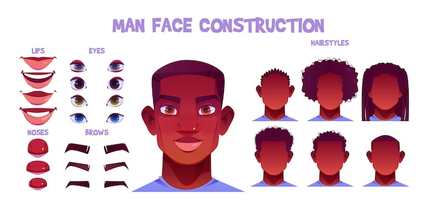 Black man face construction, avatar creation with different head parts on white