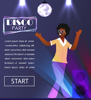 Black man in retro clothing enjoying disco party