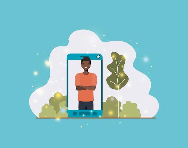 Black man in smartphone on landscape