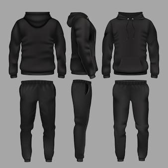 Black man sportswear hoodie and trousers. sportswear with hoodie, male fashion clothes trousers and sweatpants