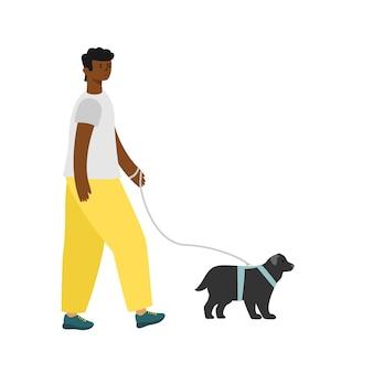 Black man walking the dog.