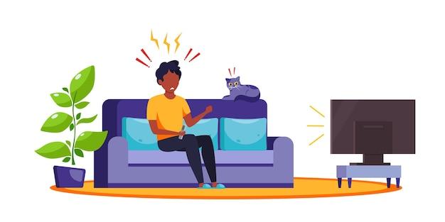 Черный мужчина смотрит новости по телевизору. шокирующий контент, фейковые новости. эмоция шока, удивления. в плоском стиле.