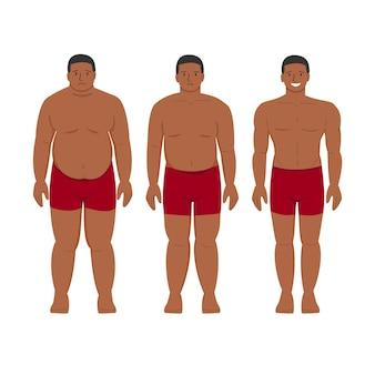 Потеря веса черного человека афро-американский толстый пациент с ожирением и молодой здоровый худой человек