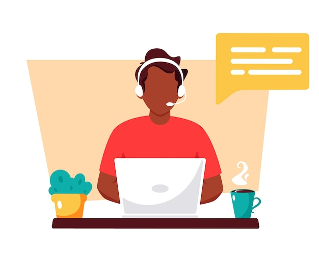 Black man with headphones and microphone. customer service, assistant, support, call center.