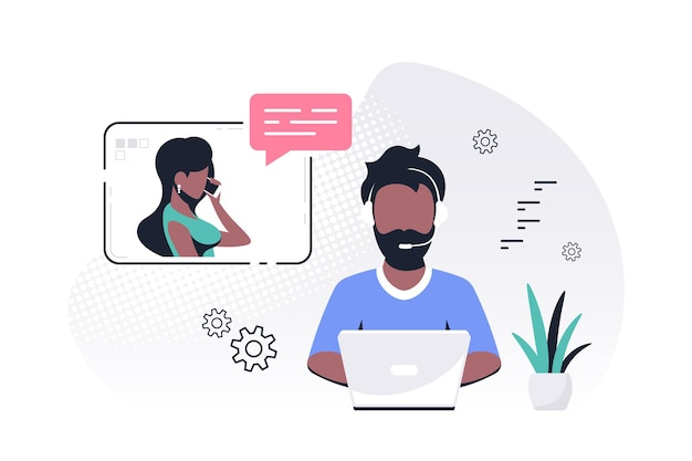 Black man with laptop and headphones with microphone. tech support, assistance, call center and customer service concept. flat style vector illustration