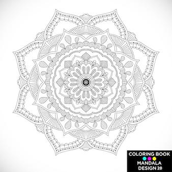 Black mandala for coloring book