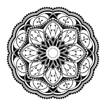 Black mandala pattern on white background