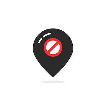 오프라인과 같은 검은색 지도 핀. 거짓, 경고, 통지, 여행, 방지, 금지, 탐색, 연결 끊김의 개념. 흰색 배경에 플랫 스타일 트렌드 현대 로고 디자인 요소 벡터 일러스트 레이 션