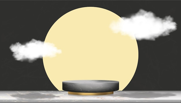 Black marble minimal podium display with clouds on yellow gold cylinder.