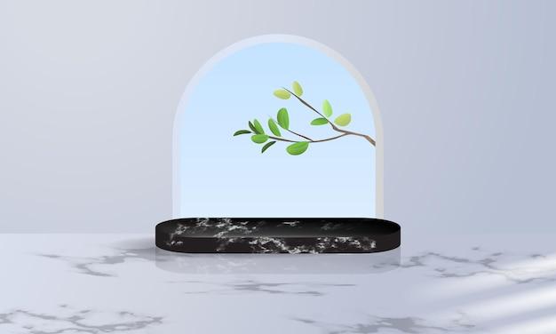 잎으로 장식 된 제품 전시를위한 검은 대리석 연단 디스플레이